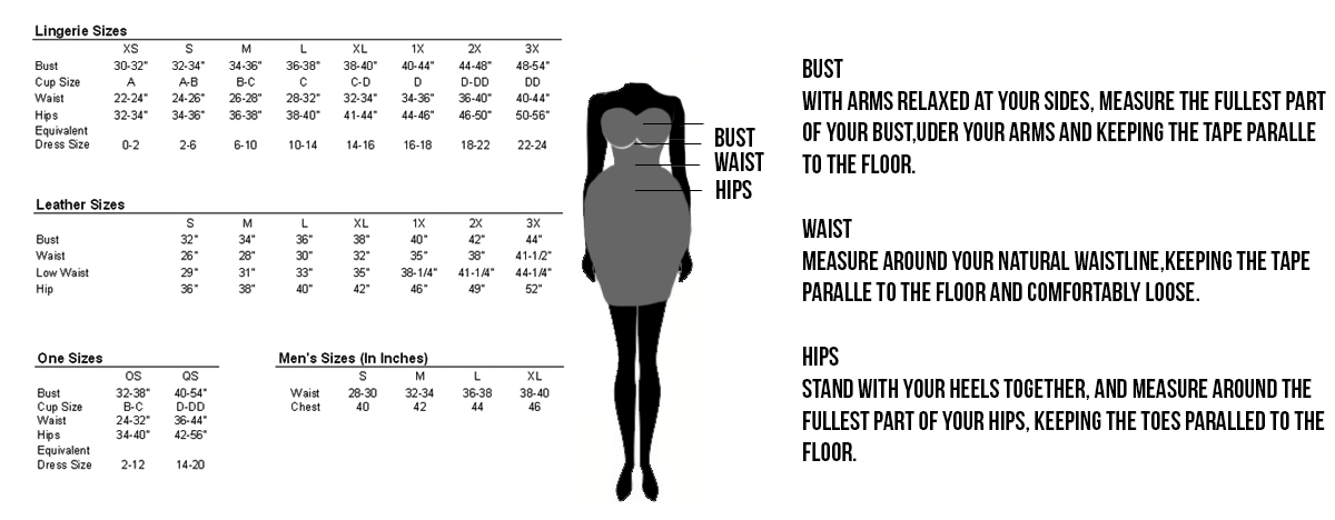Lingerie Sizing Chart