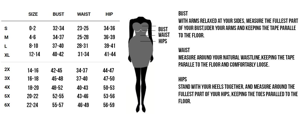 Corset Vixen Sizing Chart