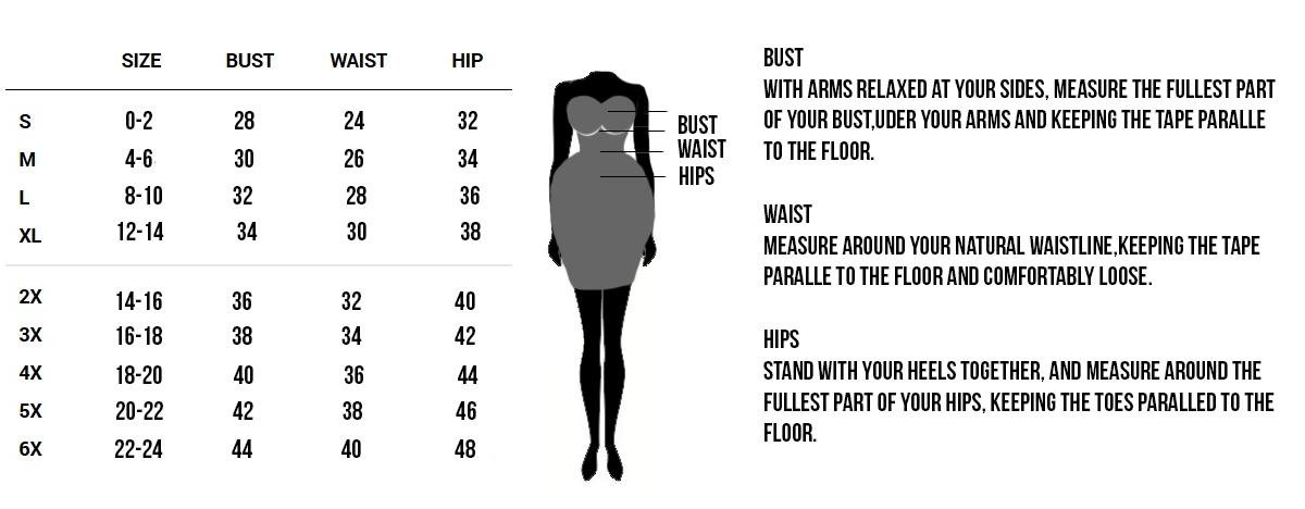 Corset Vixen Standard Sizing Chart