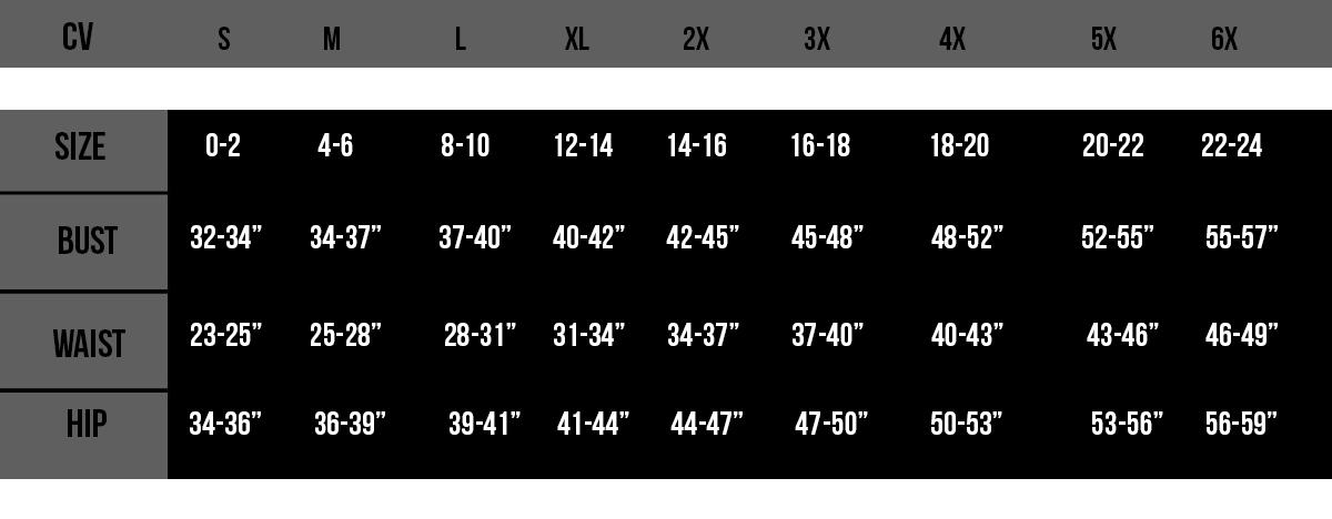 Corset Vixen TD Size Chart